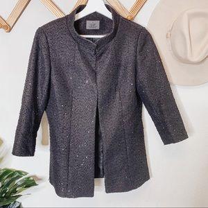 Chanel Employee Black Tweed Sequin Blazer